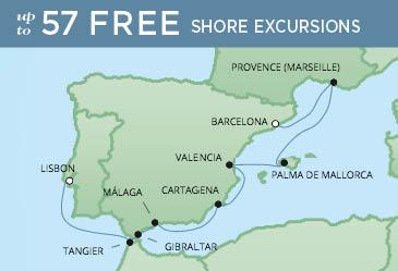 Regent Cruises | 9-Nights from Barcelona to Lisbon Cruise Iinerary Map