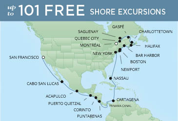 Regent Cruises | 28-Nights from San Francisco to Montreal Cruise Iinerary Map