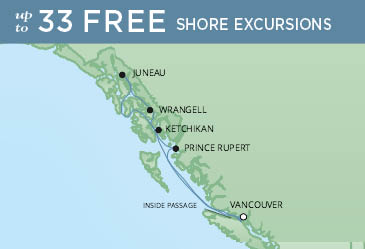 Regent Cruises | 7-Nights Roundtrip from Vancouver Cruise Iinerary Map