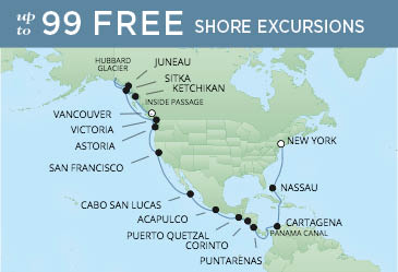 Regent Cruises | 28-Nights from Vancouver to New York Cruise Iinerary Map