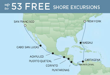 Regent Cruises | 18-Nights from San Francisco to New York Cruise Iinerary Map