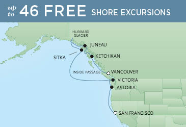 Regent Cruises | 10-Nights from Vancouver to San Francisco Cruise Iinerary Map