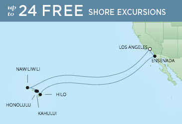 Regent Cruises | 18-Nights Roundtrip from Los Angeles Cruise Iinerary Map