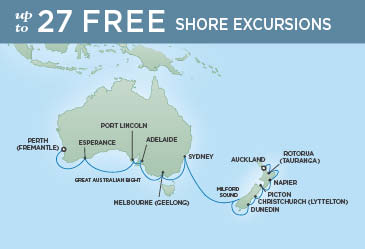 Regent Cruises | 19-Nights from Auckland to Perth Cruise Iinerary Map