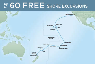 Regent Cruises | 29-Nights from Los Angeles to Auckland Cruise Iinerary Map