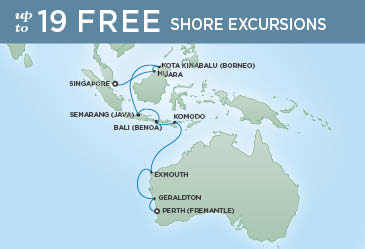 Regent Cruises | 16-Nights from Perth to Singapore Cruise Iinerary Map