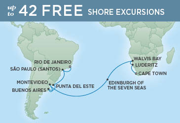 Regent Cruises | 23-Nights from Cape Town to Rio de Janeiro Cruise Iinerary Map