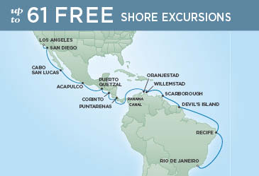 Regent Cruises | 25-Nights from Rio de Janeiro to Los Angeles Cruise Iinerary Map