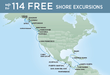 Regent Cruises | 33-Nights from Miami to San Francisco Cruise Iinerary Map