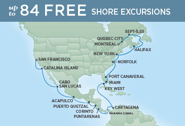 Regent Cruises   29-Nights from San Francisco to Montreal Cruise Iinerary Map