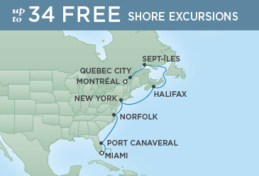 Regent Cruises | 11-Nights from Miami to Montreal Cruise Iinerary Map