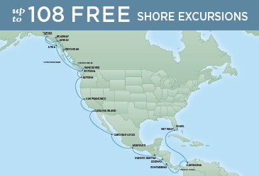 Regent Cruises | 29-Nights from Vancouver to Miami Cruise Iinerary Map