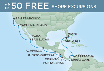 Regent Cruises | 18-Nights from San Francisco to Miami Cruise Iinerary Map