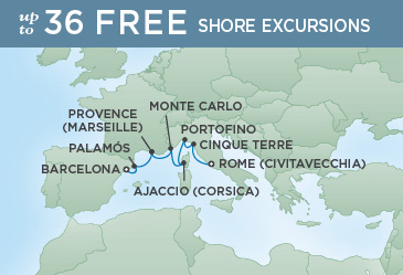 Regent Cruises | 7-Nights from Barcelona to Rome Cruise Iinerary Map