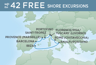 Regent Cruises | 9-Nights Roundtrip from Rome Cruise Iinerary Map