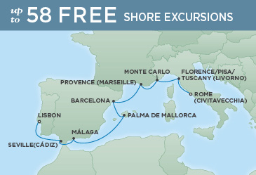 Regent Cruises | 10-Nights from Rome to Lisbon Cruise Iinerary Map