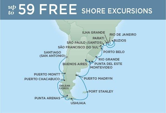 Regent Cruises | 28-Nights from Rio de Janeiro to Santiago Cruise Iinerary Map