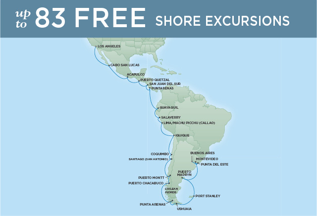 Regent Cruises | 36-Nights from Buenos Aires to Los Angeles Cruise Iinerary Map