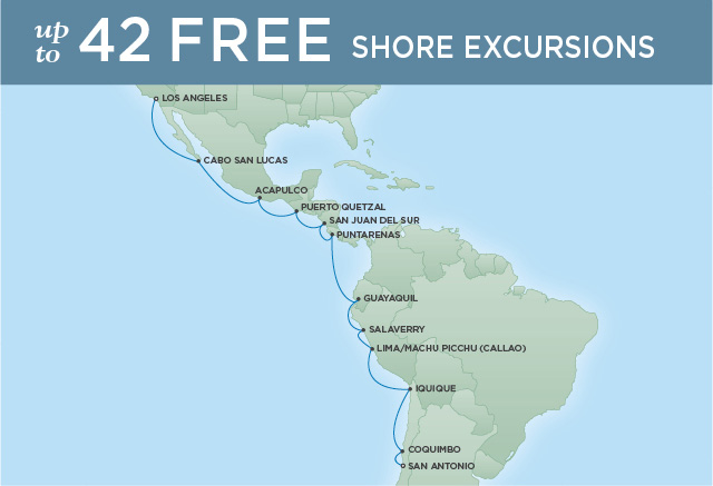Regent Cruises | 20-Nights from Valparaiso to Los Angeles Cruise Iinerary Map