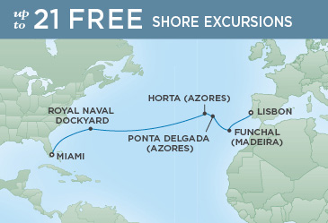 Regent Cruises | 14-Nights from Miami to Lisbon Cruise Iinerary Map