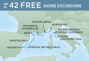 Regent Cruises | 8-Nights from Barcelona to Rome Cruise Iinerary Map