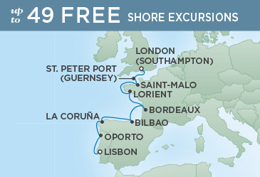 Regent Cruises | 9-Nights from Lisbon to London Cruise Iinerary Map