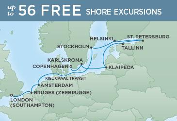 Regent Cruises | 12-Nights from London to Copenhagen Cruise Iinerary Map