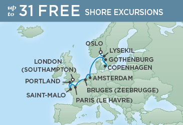 Regent Cruises | 10-Nights from Oslo to London Cruise Iinerary Map