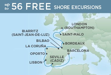 Regent Cruises | 12-Nights from London to Barcelona Cruise Iinerary Map