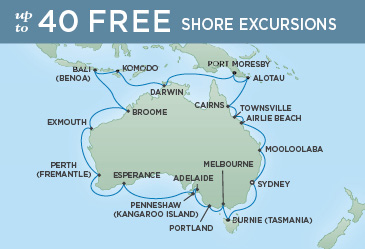 Regent Cruises | 36-Nights Roundtrip from Sydney Cruise Iinerary Map