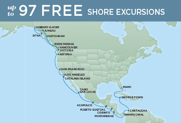 Regent Cruises | 28-Nights from Vancouver to Miami Cruise Iinerary Map