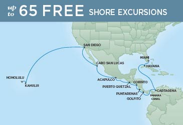 Regent Cruises | 22-Nights from Miami to Honolulu Cruise Iinerary Map