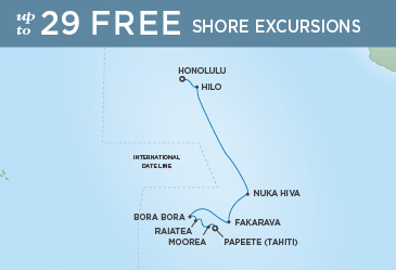 Regent Cruises | 14-Nights from Honolulu to Papeete Cruise Iinerary Map