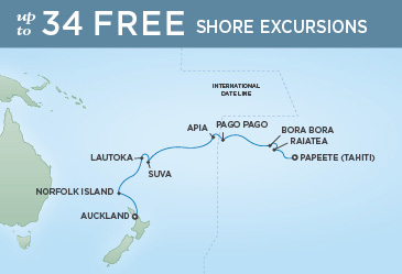 Regent Cruises | 15-Nights from Papeete to Auckland Cruise Iinerary Map
