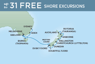 Regent Cruises | 15-Nights from Auckland to Sydney Cruise Iinerary Map