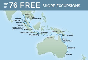 Regent Cruises | 36-Nights from Sydney to Bangkok Cruise Iinerary Map