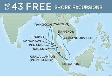 Regent Cruises | 16-Nights from Singapore to Bangkok Cruise Iinerary Map