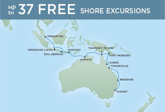 Regent Cruises | 20-Nights from Sydney to Singapore Cruise Iinerary Map