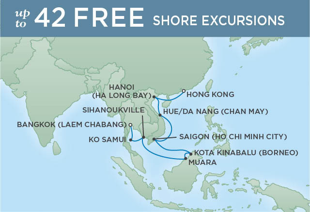 Regent Cruises | 16-Nights from Bangkok to Hong Kong Cruise Iinerary Map