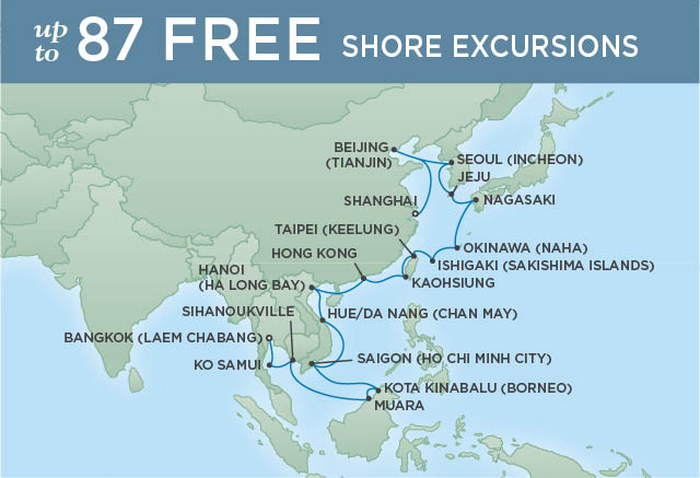 Regent Cruises | 31-Nights from Bangkok to Shanghai Cruise Iinerary Map
