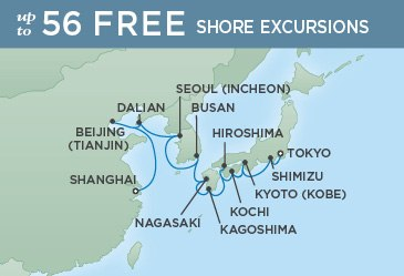 Regent Cruises | 18-Nights from Shanghai to Tokyo Cruise Iinerary Map