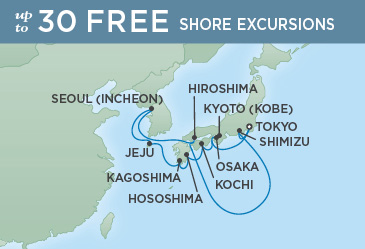 Regent Cruises | 12-Nights Roundtrip from Tokyo Cruise Iinerary Map