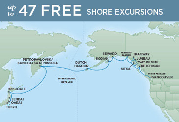 Regent Cruises | 19-Nights from Tokyo to Vancouver Cruise Iinerary Map