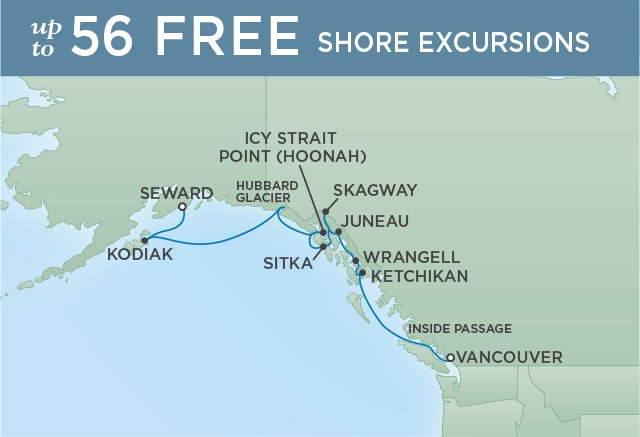 Regent Cruises | 11-Nights from Vancouver to Anchorage Cruise Iinerary Map