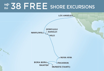 Regent Cruises | 20-Nights from Los Angeles to Papeete Cruise Iinerary Map