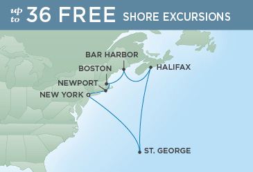 Regent Cruises | 10-Nights Roundtrip from New York Cruise Iinerary Map