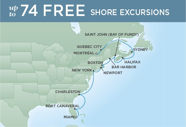 Regent Cruises | 14-Nights from Montreal to Miami Cruise Iinerary Map