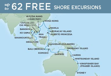 Regent Cruises | 36-Nights from Sydney to Singapore Cruise Iinerary Map