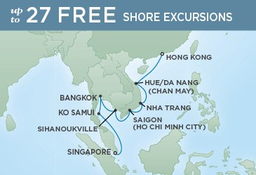 Regent Cruises | 12-Nights from Hong Kong to Singapore Cruise Iinerary Map