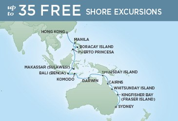 Regent Cruises | 24-Nights from Sydney to Hong Kong Cruise Iinerary Map